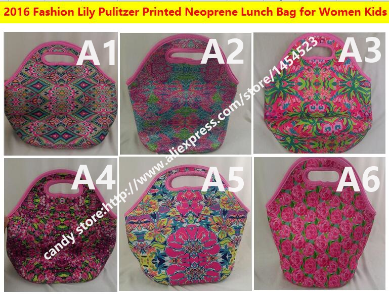 100pcs Flower Printed Neoprene Lunch bag for Women Kids Tote Storage Bag with Zipper Cooler Box(China (Mainland))