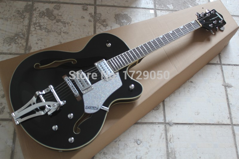 Free Shipping High Quality Factory Custom Gret sch Falcon 6120 Semi Hollow Jazz black Electric Guitar Bigsby Tremolo 2015 1(China (Mainland))