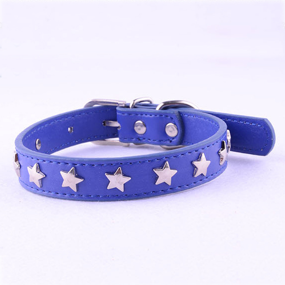 Newest Dog Necklace PU Leather Small Dog Collars With Stats Pet Products Puppy Cat Buckle Neck Fashion 8 Colors 4 Size XS S M L(China (Mainland))