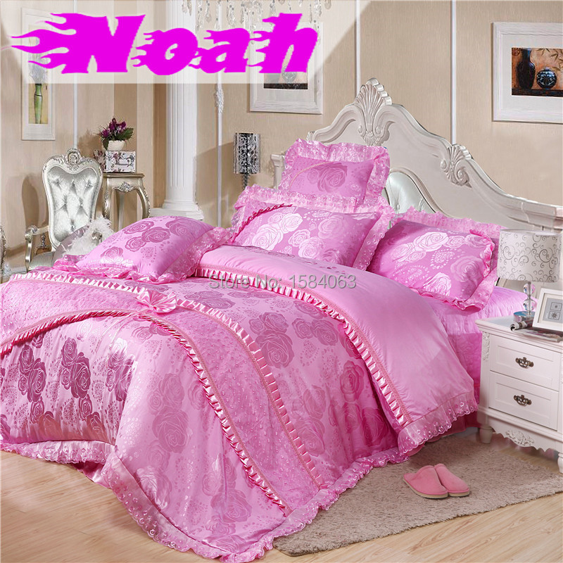 6 Piece luxury designer wedding princess bedding set king size,lace bed cover summer silk embroidered pillow sheet queen bed set(China (Mainland))