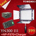 Yongnuo YN 300 III 5500K CRI95 LED Video Light w NP F970 Battery Charger DSLR Camera