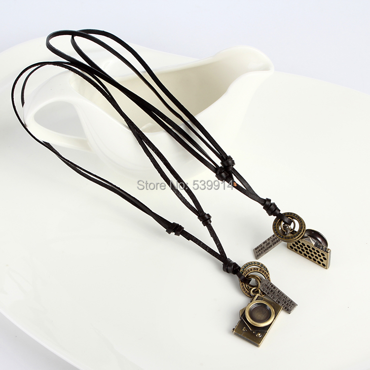 Free shipping 2015 fashion jewelry necklace genuine cow leather men necklace,punk retro cross camera pendants necklace 2pcs/lot(China (Mainland))