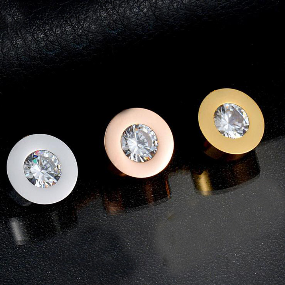2016 channel titanium steel jewelry round Red/white zircon earrings couples gold/silver plated ear men and women(China (Mainland))