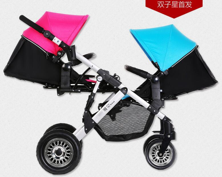 Baby twins stroller bidirectional four wheel suspension folding baby stroller(China (Mainland))