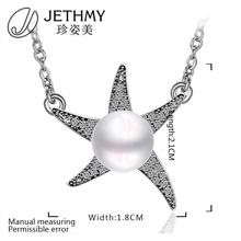 N008 Wholesale Women Necklace 18K Gold Plated Austrian Crystal Pendant Necklace Pearl Jewlery Vintage Statement collares