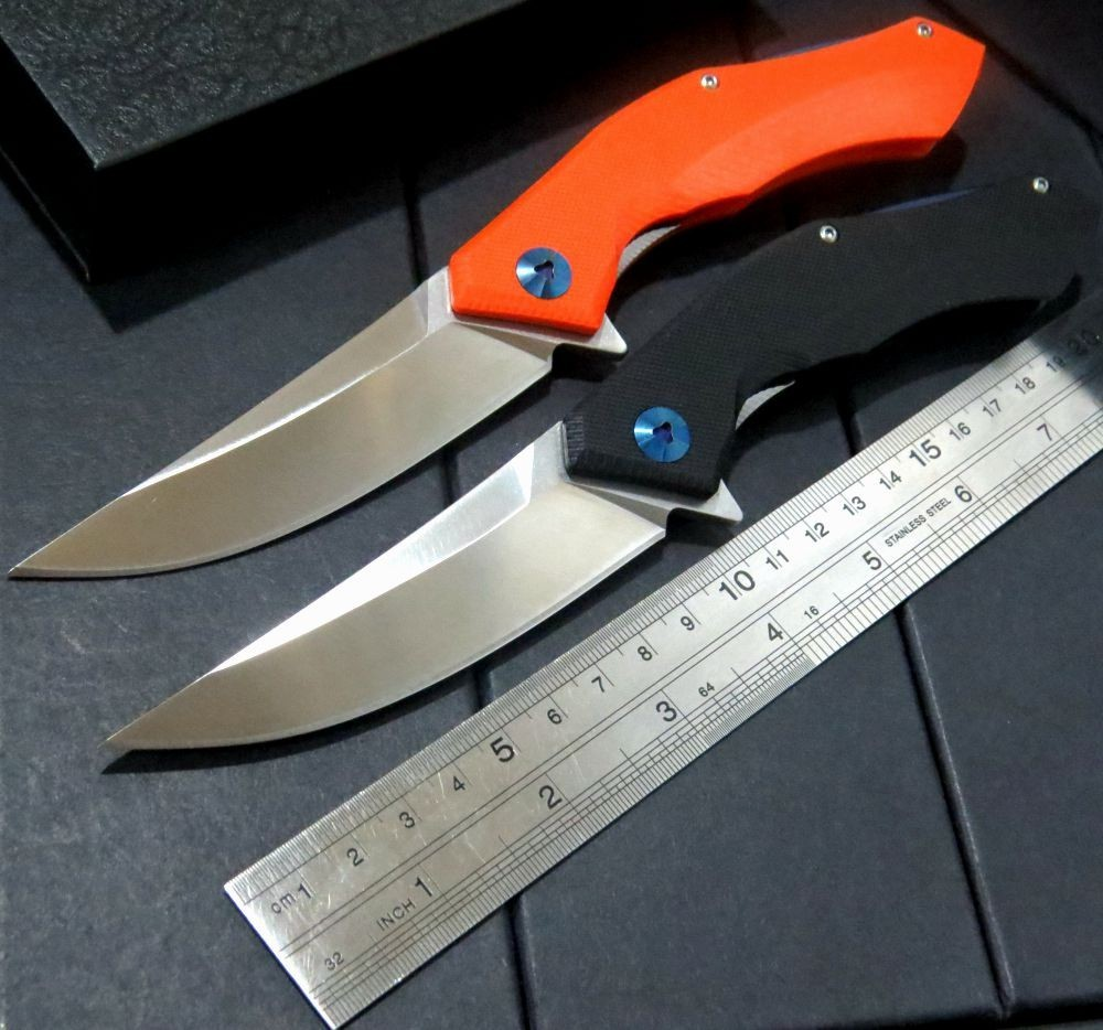 Buy 2 Colours Good Looking Tactical Folding Knife D2 Blade G10 Handle Blue Moon Outdoor Camping utility Knife EDC Tools cheap