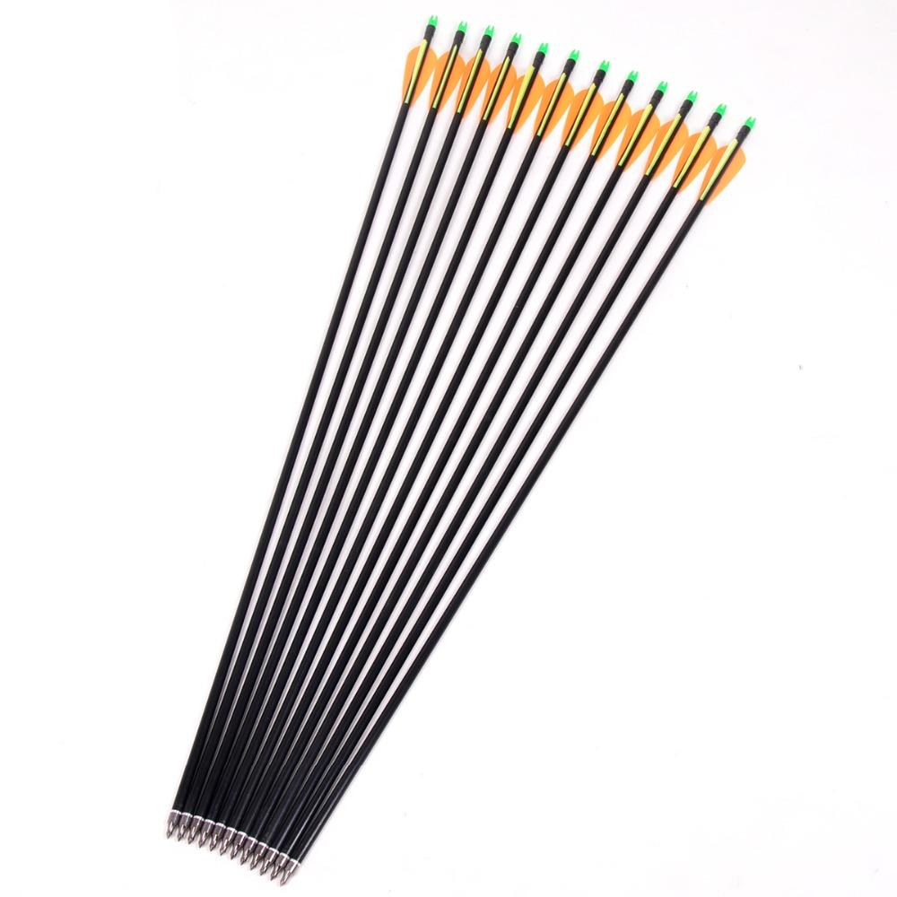 12Pcs lot Fiberglass Arrow 80cm Archery Hunting Nock Proof Fiberglass Arrow Steel Point 30 80lbs For