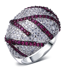 Clear and ruby cubic zirconia ring 2015 new design jewelry zirconia rings top grade accessories platinum plate