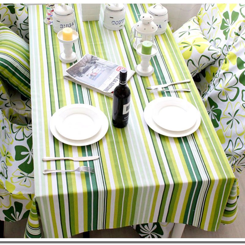 Modern new high-grade Cotton Table Cover / Tablecloth rectangle striped multicolor fabric nice for picnic table Free Shipping(China (Mainland))
