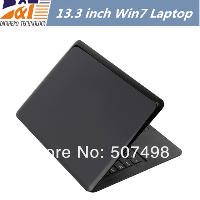 Free shipping 13.3 Inch Win7 Laptop Notebook Intel Atom D2500 2GB DDR3 RAM 250GB HDD 1.3M Pix Webcam  WIFI