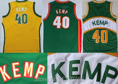 produto #40 Shawn Kemp Basketball Jerseys Seattle Embroidery Stitched 2015 Star Throwback Jersey for Men Green White Yellow Retro Jersey