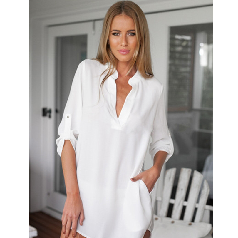 Sexy women sheer white shirts dress long sleeve pocket Women s long sleeve shirt dress