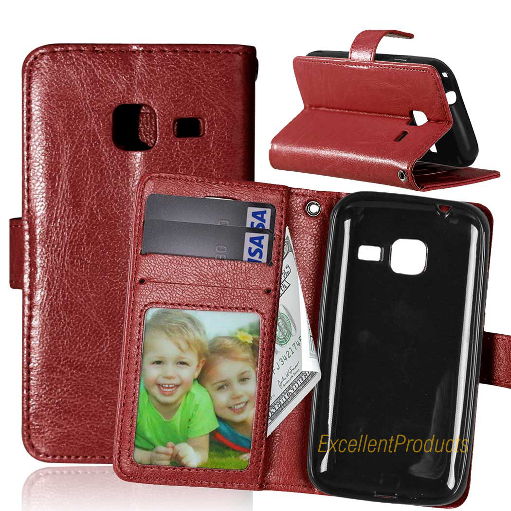 Luxury Leather Wallet Phone Case Samsung J1 mini Flip Cover Card Slot Stand Magnetic Fundas Samsung J1 mini