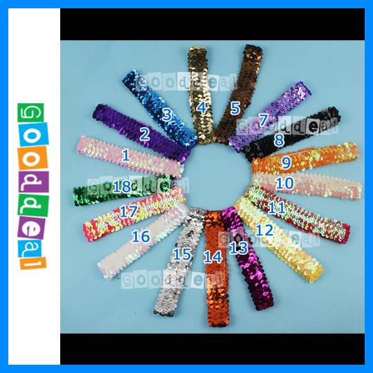Wholesale 12pcs/lot 18colors paillettes Shimmery Stretchy Headbands perfect newborn baby adult Hair Accessories Hair Bands(China (Mainland))