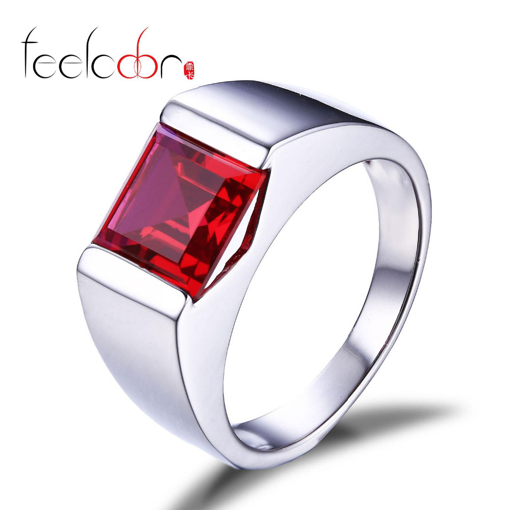 Feelcolor New Wholesale Promotion Man Pigeon Blood Ruby 3.4ct Ring Square Cut 925 Solid Sterling Sliver Wedding Jewelry<br><br>Aliexpress