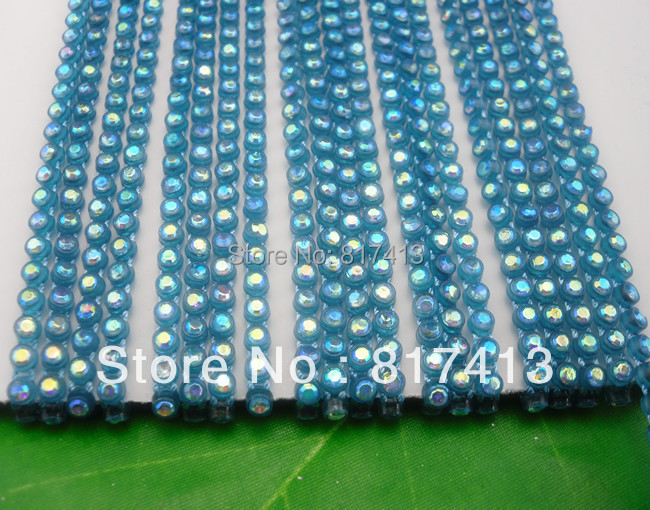 SS6 B grade white AB crystal glass 2mm Rhinestones blue plastic cup banding crafts clothes applique wedding setting chain 10yd(China (Mainland))