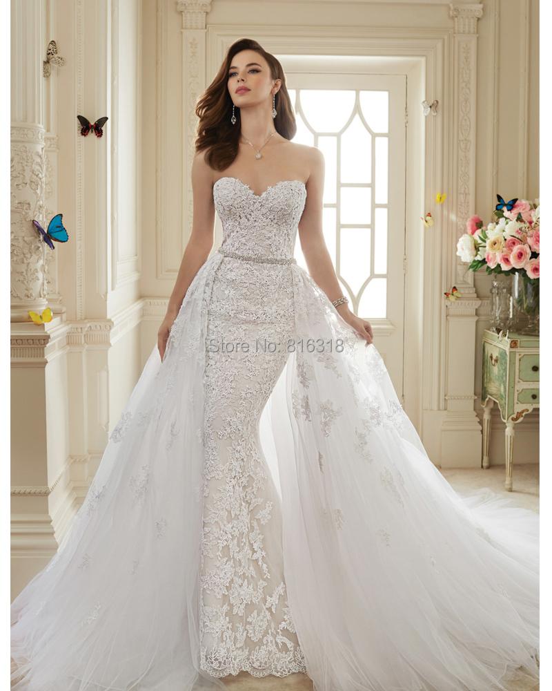 Vestidos De Novia 2016 Viintage Lace Sexy Mermaid Wedding Dress With Detachable Train 2016 Bride