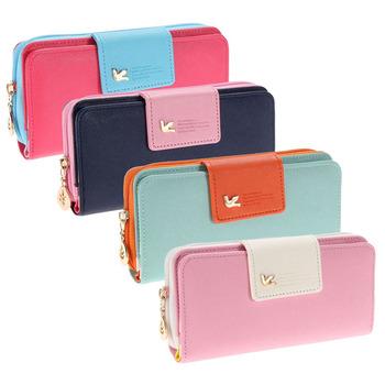 2015 Women Wallets New Winter Fashion Trends Pumping Multi-card Position Two Fold Wallet lady Long Zipper Purse Card Holder