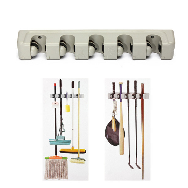 Best Promotion!!Newest Plastic Wall Mounted 5 Position Kitchen Storage Mop Broom Organizer Holder Tool(China (Mainland))