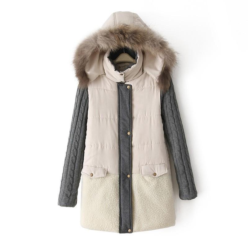 New Autumn Winter European Fashion Women Fur Collar Hooded Jacket Coats Warm Stitching Coat Jackets Female Cotton-Padded Paraks