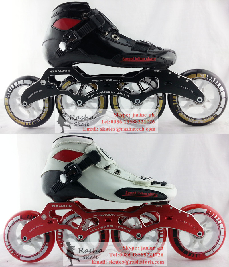 In stockC Black inline skating shoes Red Professional adult child roller skates with PS wheels speed skate(China (Mainland))