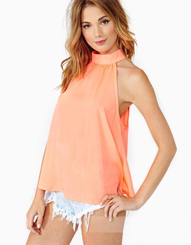 vestidos de fiesta summer style women casual fashion shirt strapless solid color high-necked sleeveless loose chiffon shirt #091(China (Mainland))