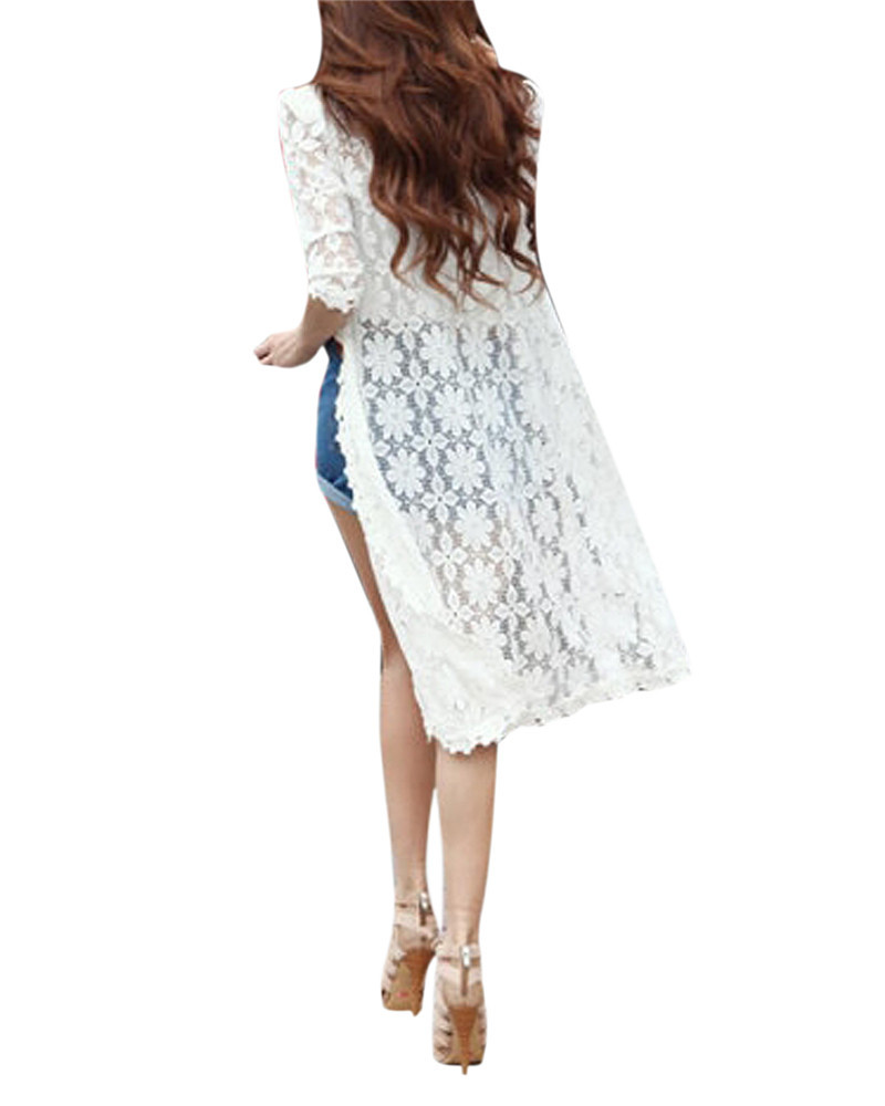 2015 Fashion Long Cape Hollow Out Womens Half Sleeve Summer Autumn Lace Cardigan Sweater 2 Color(China (Mainland))