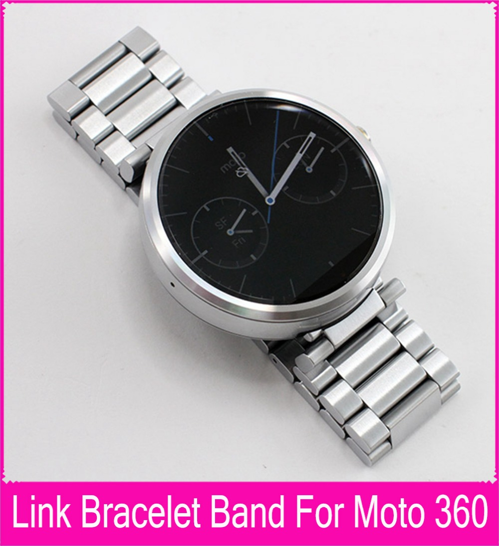 Top Quality 22mm Black Silver Stainless Steel Strap For Moto 360 Band For Motorola Moto 360 Smart Watch + Tools + Connecting Rod(China (Mainland))