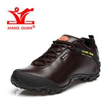 XIANG GUAN Woman Hiking Shoes Women Leather Trekking Boots Coffee Sports Climbing Mountain Shoe Trend Outdoor Walking Sneakers