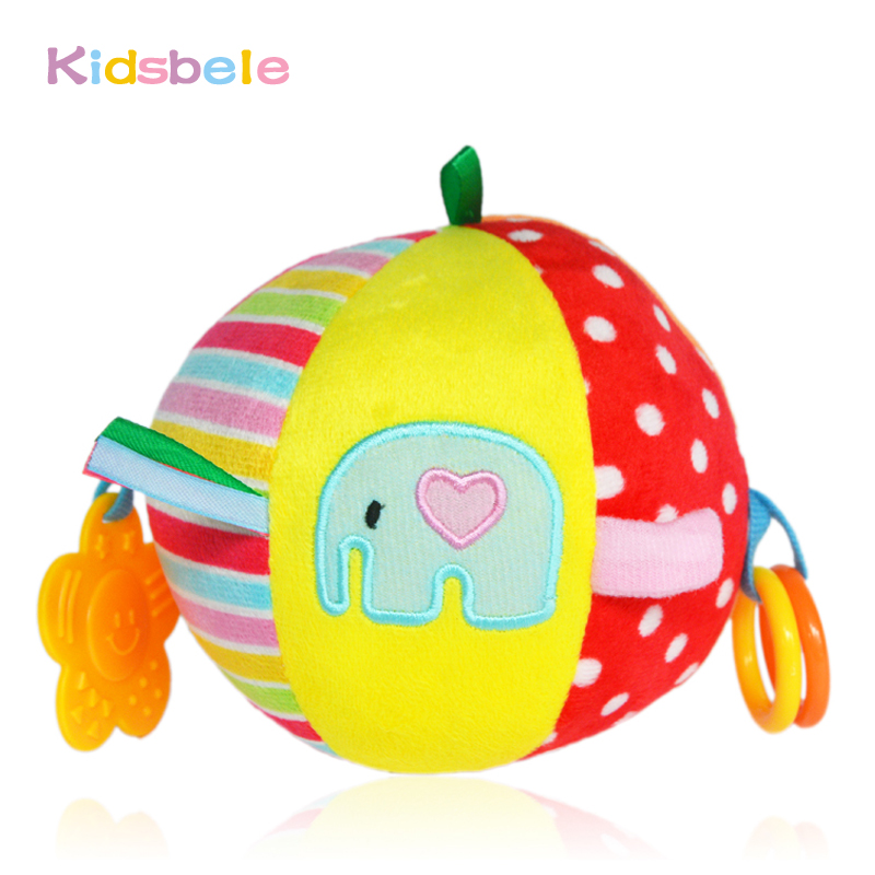 Baby Rattle Toys Soft Plush Ball Animal Colorful Stroller Hanging Early Learning Education Toy Infant Newborn Crib Handbell Toy(China (Mainland))