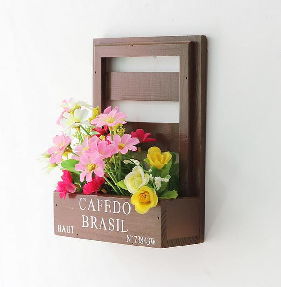 Solid wood corrosion wall adornment flowers barrels hanging wall wooden flower pot wooden basket plant hanging basket 0494(China (Mainland))