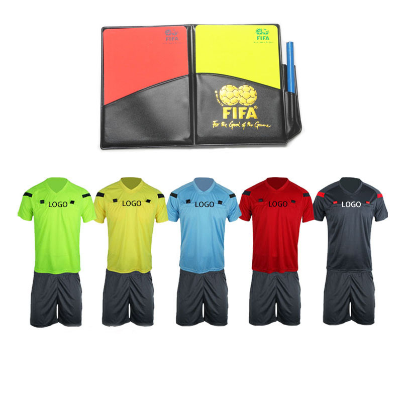 Professional Soccer referee jerseys with referee cards Sports cloth football suit judge uniform set jersey shirts Free shipping(China (Mainland))