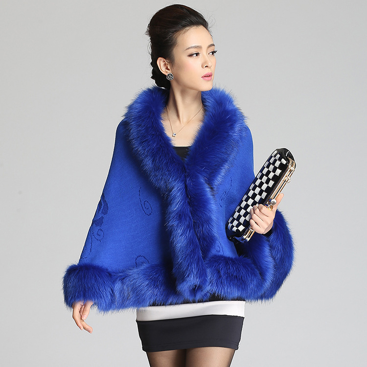 2014 New Hot Fashion Women's autumn and winter patchwork faux fur cloak(China (Mainland))