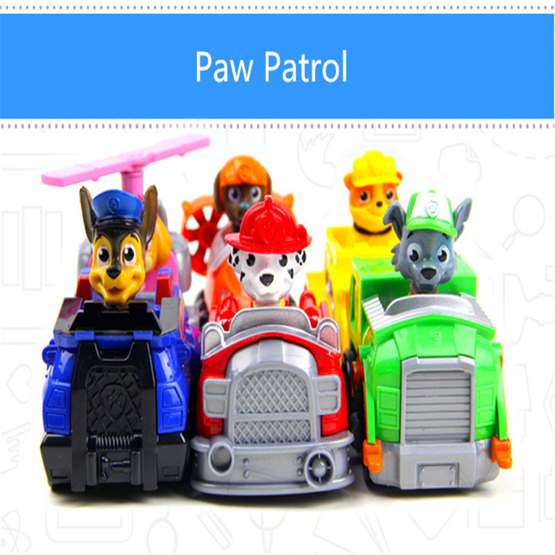 Hot 2016 Kid Car Toys Puppy Patrol Dog Action Figure Patrulla Canina Toys Anime With Vehicle Car Spain Patrol Canine TY146 NEW(China (Mainland))