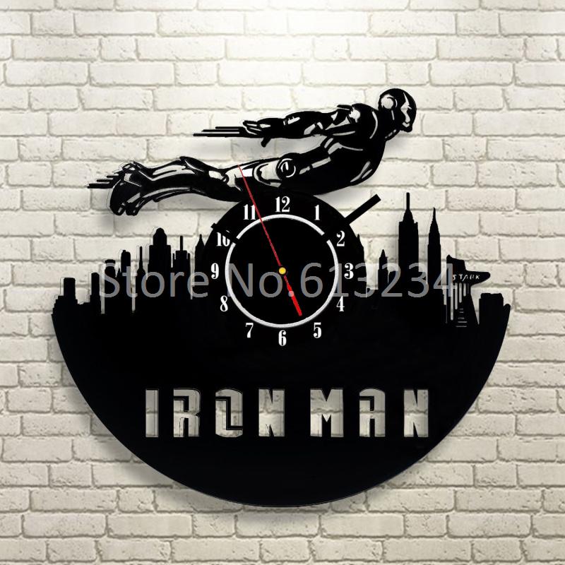 EMS Free Shipping Wholesale 100 Pieces The Marvel Superhero Avenger Flying Iron Man Wall Clock Laser Engraved Silence Clock(China (Mainland))