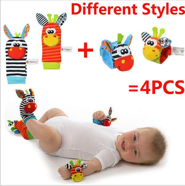 Free&drop shipping, NEW STYLE (4pcs=2 pcs waist+2 pcs socks)/lot,baby rattle toys Sozzy Garden Bug Wrist Rattle and Foot Socks(China (Mainland))