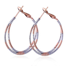Free Shipping Wholesale Delicate 18K Two-Tone Gold Plated Hoop Women Earrings No Nickel(China (Mainland))