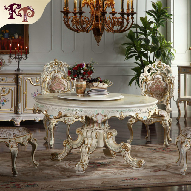french antique furniture -  round shape dining table dinging room furniture Classic furniture manufacturer