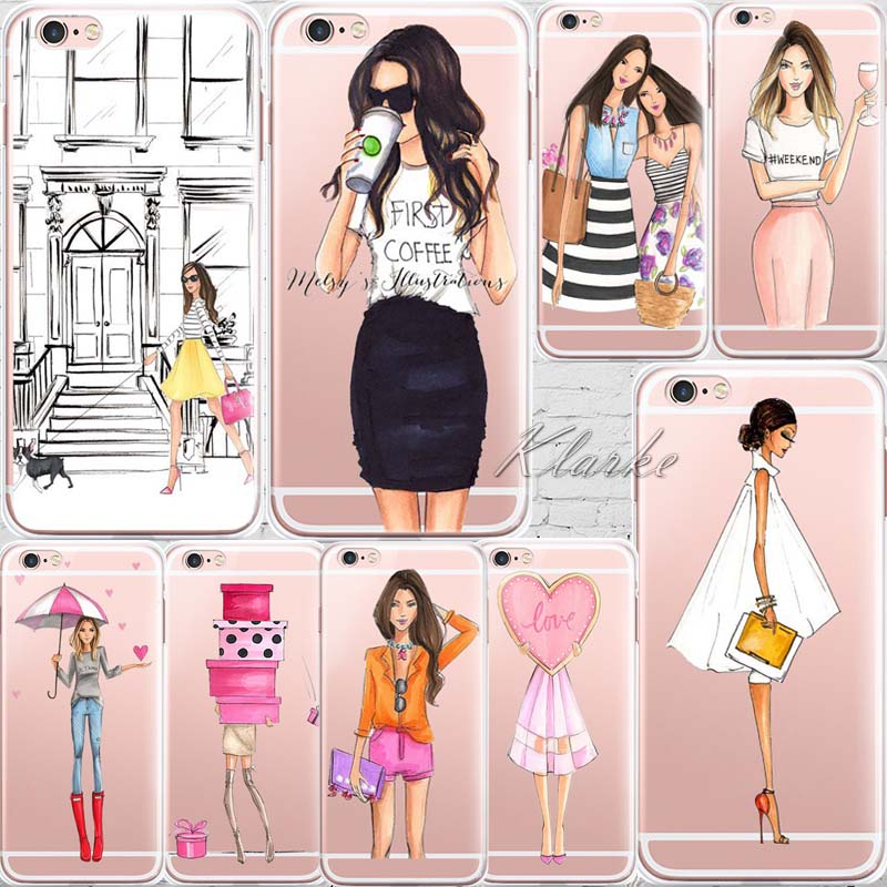 Beautiful Girl drink coffee Design Transparent TPU Case Cover For Iphone 6 6s Fashion Cell Phone Cases(China (Mainland))