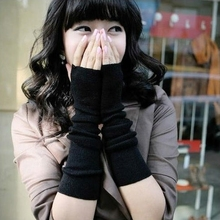 Arm Warmers Long Gloves Fingerless Mittens Funk Black #3323(China (Mainland))