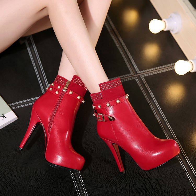 2015 autumn and winter boots rivets high-heeled boots wholesale and diamond zipper manufacturers selling authentic shoes(China (Mainland))