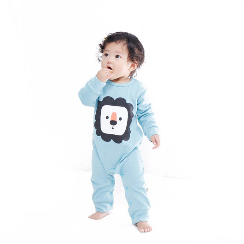 2016 Autumn Winter Baby Animal Printed Combed Cotton Jumpsuits Boy Girl Clothes Infantil Romper Newborn Coveralls Next Rompers(China (Mainland))