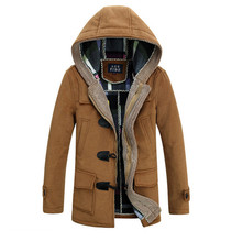 Men Woolen Coats Brand Design Winter Thick Snow Warm Long Cashmere Trench Coats Male Slim Fit Hooded Parkas Windbreaker F1224(China (Mainland))