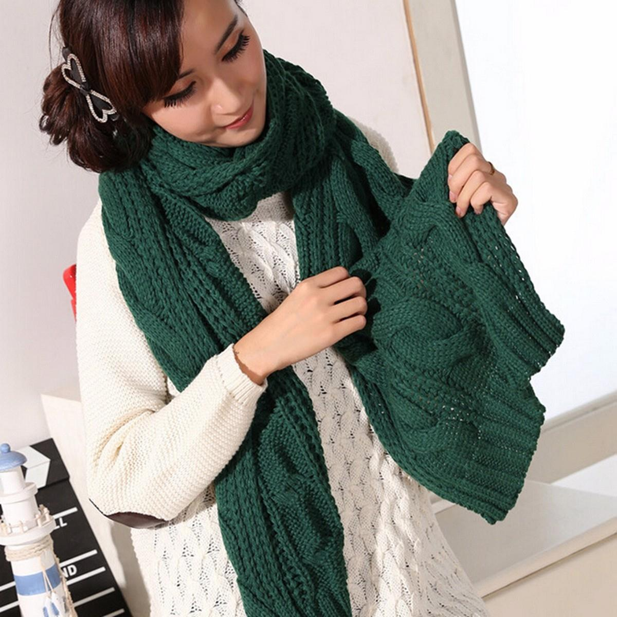2016 Autumn Winter Fashion Lady Long Imitation Cashmere Warm Knit Scarf Shawl Women Solid Thick Winter Neck Scarves For Choice(China (Mainland))