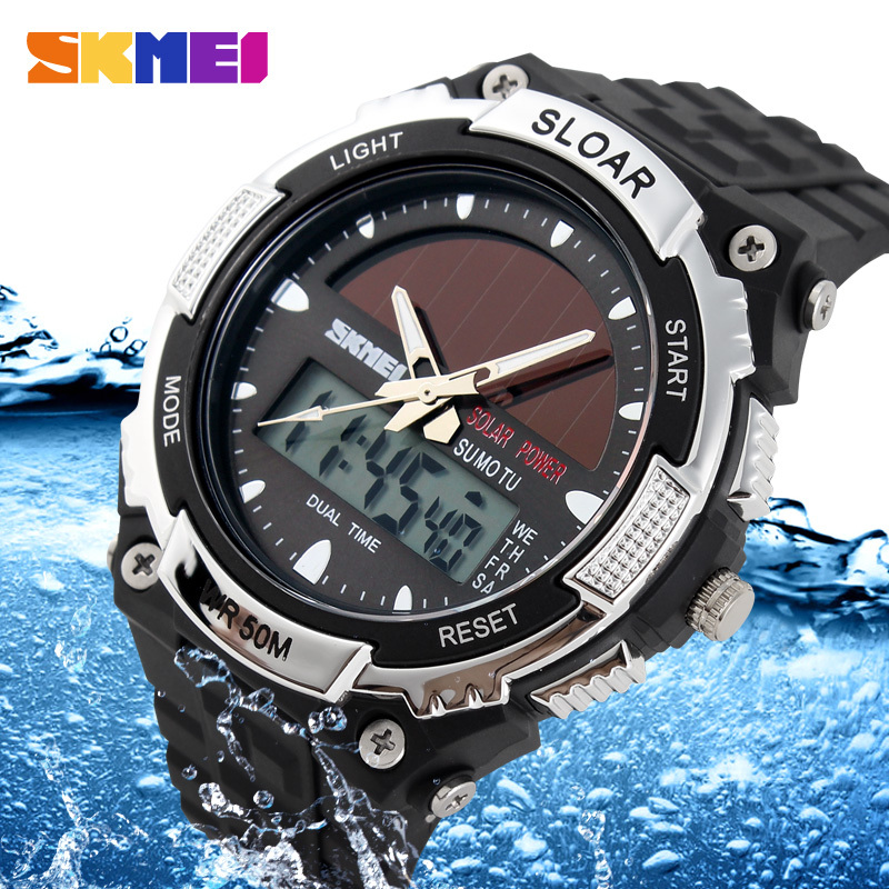 Гаджет  Luxury Mens Dual movement Sports Military Digital analog Watches 50M Waterproof relogio masculino Solar Power Skmei Wristwatch None Часы