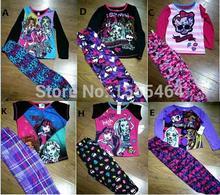 new girls Cartoon winter Monster School suit t-shirt+leggings 2pcs ever after high pajama suits baby Kids sleepwear Sets