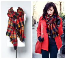 Za genuine Western Major hot fashion fashion Tartan scarfs Plaid colour lattice brand Scarf women's scarves Shawl,190*90cm
