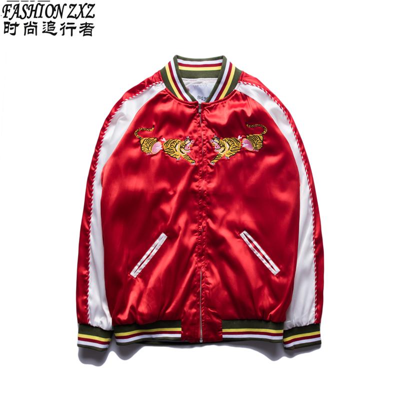Harajuku Street style 2016 spring fall jacket women man fashion Red Satin embroidery tiger Baseball uniform bomber jacket coat(China (Mainland))