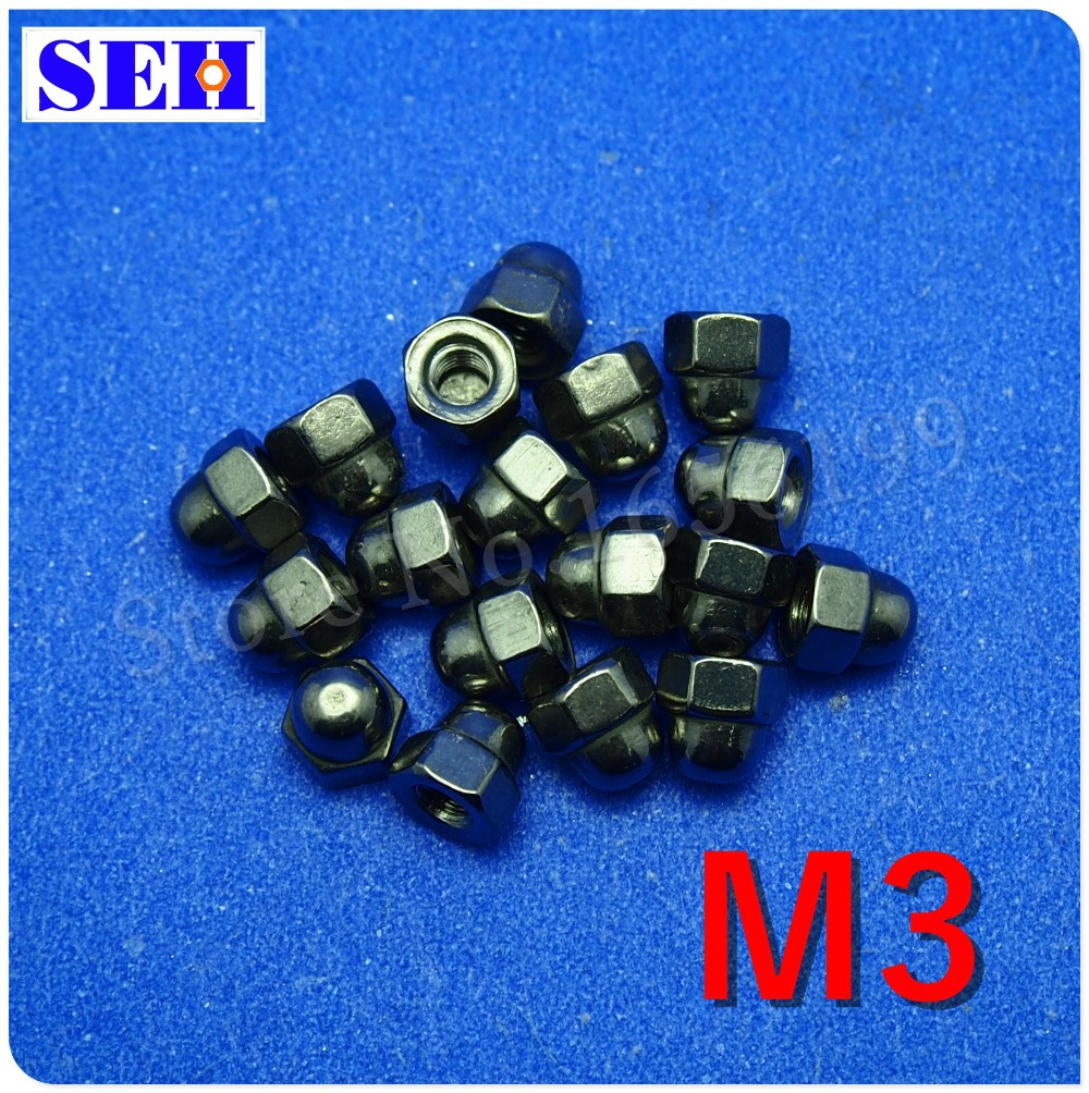 50pcs 100% New M3 Nut Hex Cap Nuts 304 Stainless Steel Dome Head Hex Nuts Protection Cover Nuts Fastener Hardware(China (Mainland))