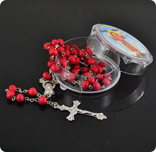 Buy rose scented perfume wood Rosary Beads INRI JESUS Cross Pendant Necklace Catholic Fashion Religious jewelry for $1.99 in AliExpress store